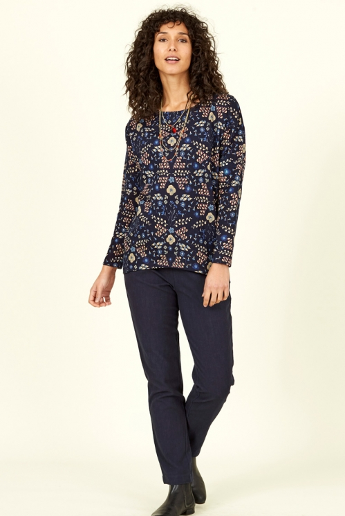Navy Blue Fair Trade Bloomsbury Print Jersey Tunic Jumper
