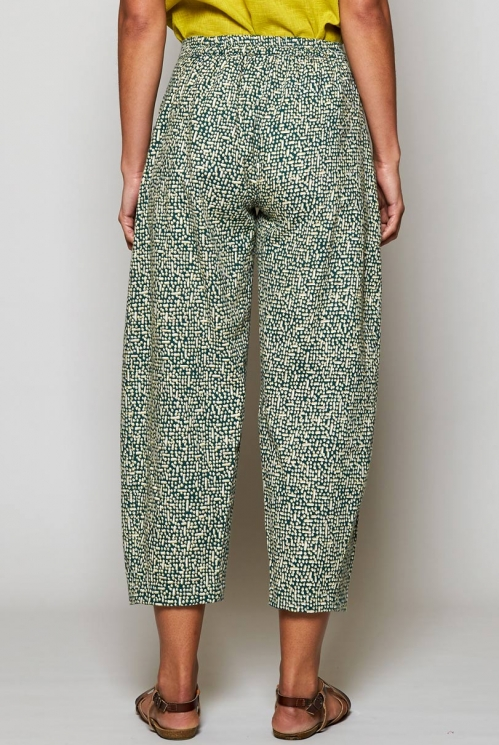Pine Green Sustainable Cobble Relaxed Fit Crop Trousers
