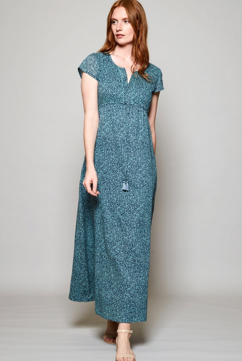 Storm Blue Sustainable Short Sleeve Cotton Maxi Dress