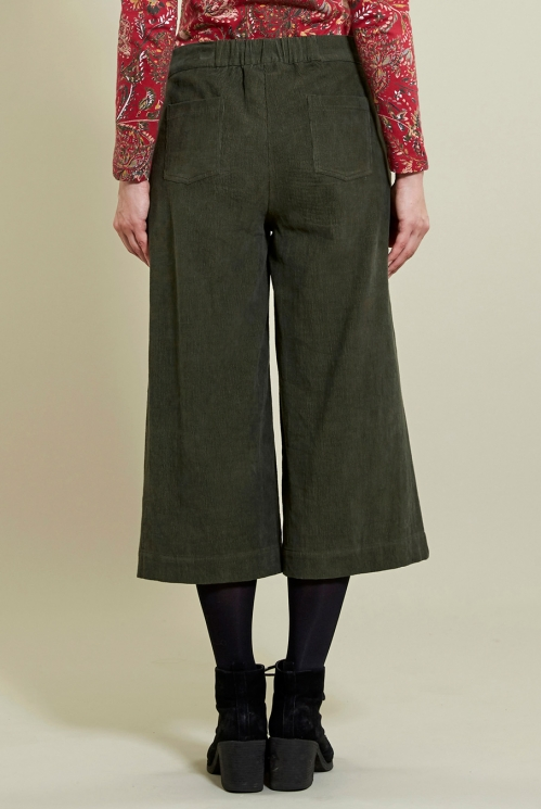 Wide Leg Crop Trousers in Khaki - back view