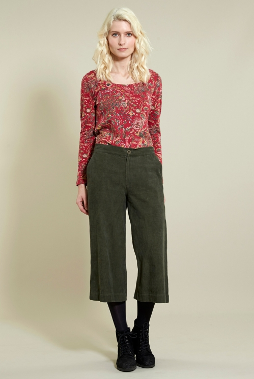 Wide Leg Crop Trousers in Cotton Needlecord - image shows Khaki