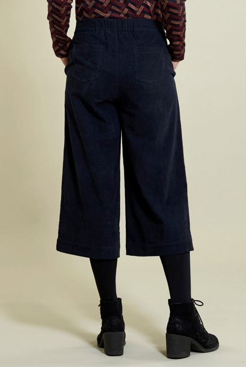 Wide Leg Crop Trousers in Navy - back view