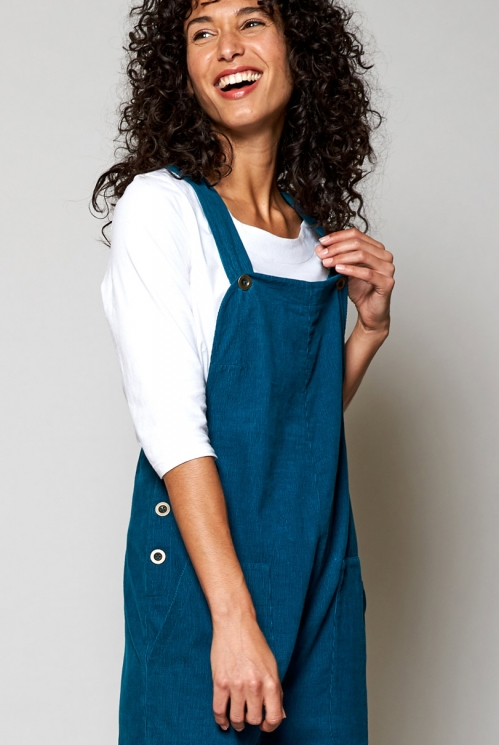 Teal Blue Fair Trade Needlecord Dungarees
