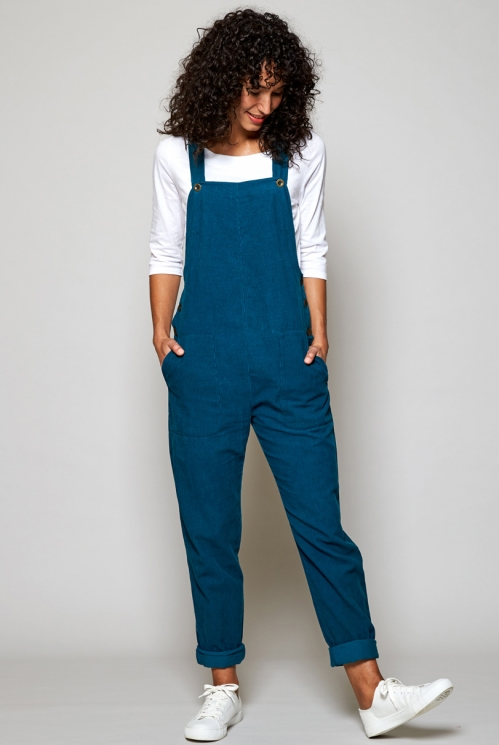 Ethically Made Teal Blue Needlecord Dungarees