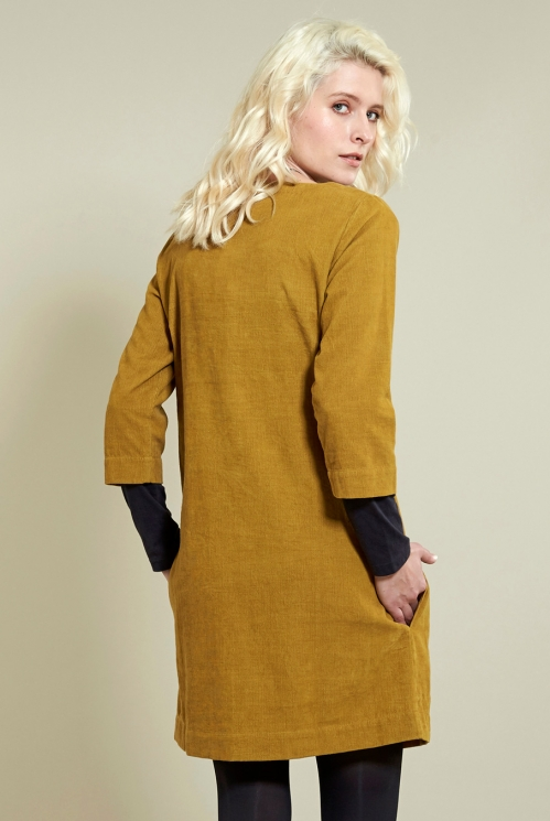 3/4 Sleeve Tunic Dress in Caramel - back view