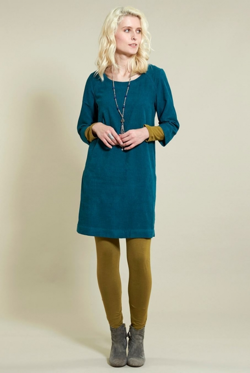 3/4 Sleeve Tunic Dress in Cotton Needlecord - image shows Pacific Blue