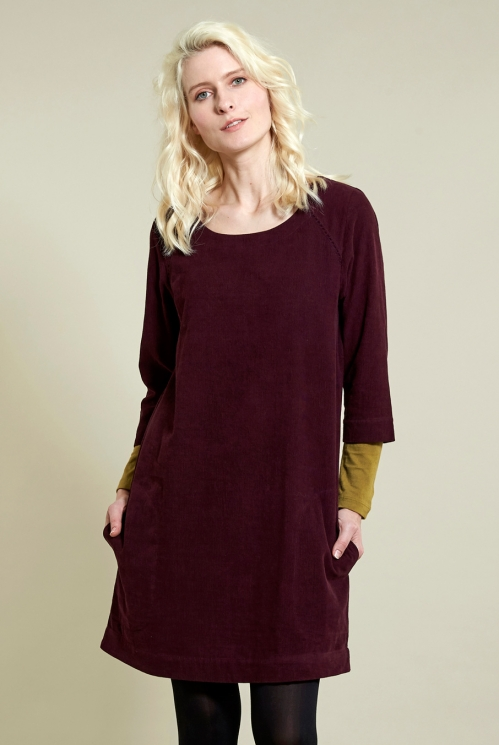 Plum 3/4 Sleeve Tunic Dress