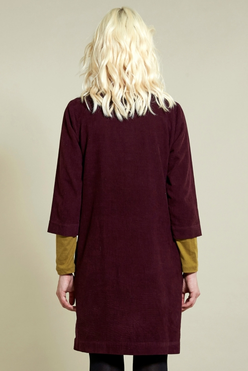 3/4 Sleeve Tunic Dress in Plum - back view