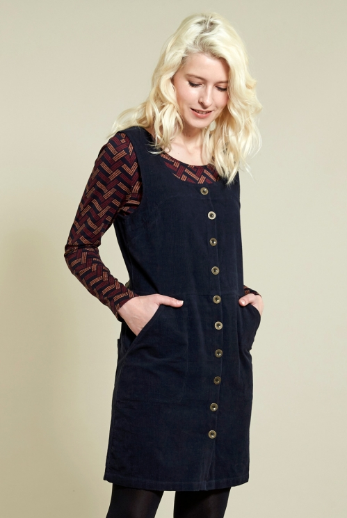 Navy Button Front Cord Pinafore Dress