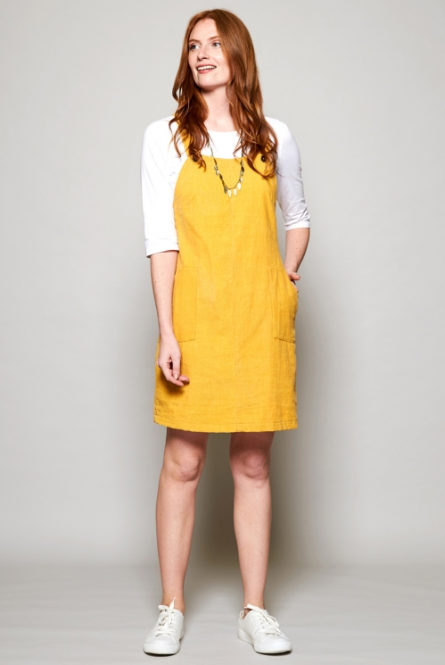 Dandelion Yellow Sustainable Needlecord Dungaree Pinafore Tunic Dress