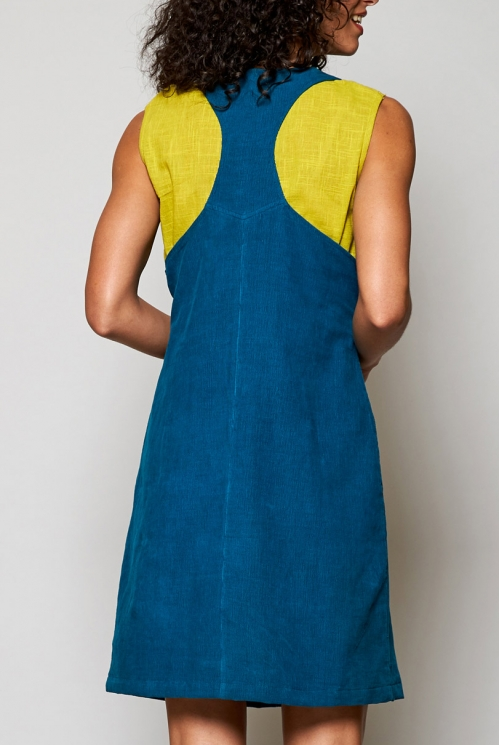 Sustainable Teal Blue Needlecord Dungaree Pinafore Tunic Dress