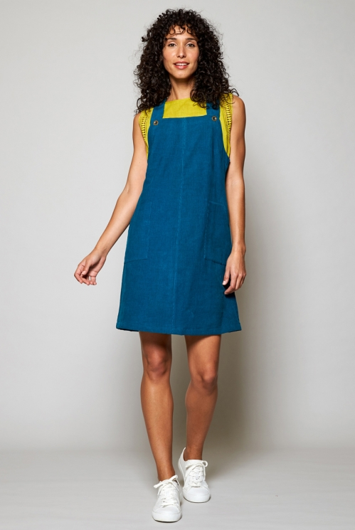 Teal Blue Sustainable Needlecord Dungaree Pinafore Tunic Dress