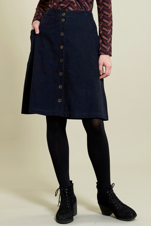 Navy Button Front Skirt