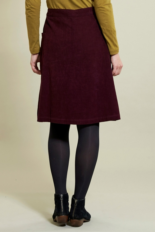 Button Front Skirt in Plum - back view