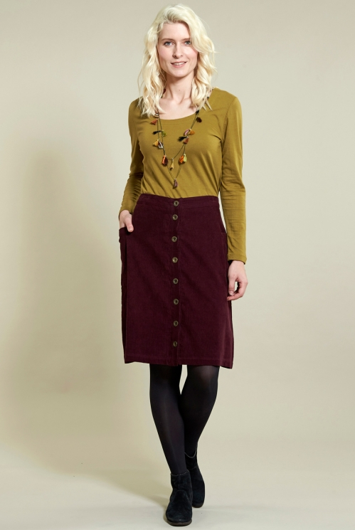Button Front Skirt in Cotton Needlecord - image shows Plum