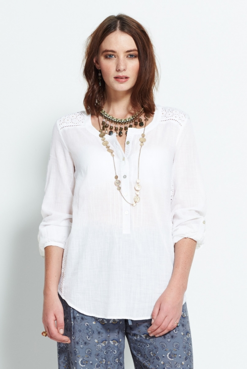 White Plain Pintuck Shirt