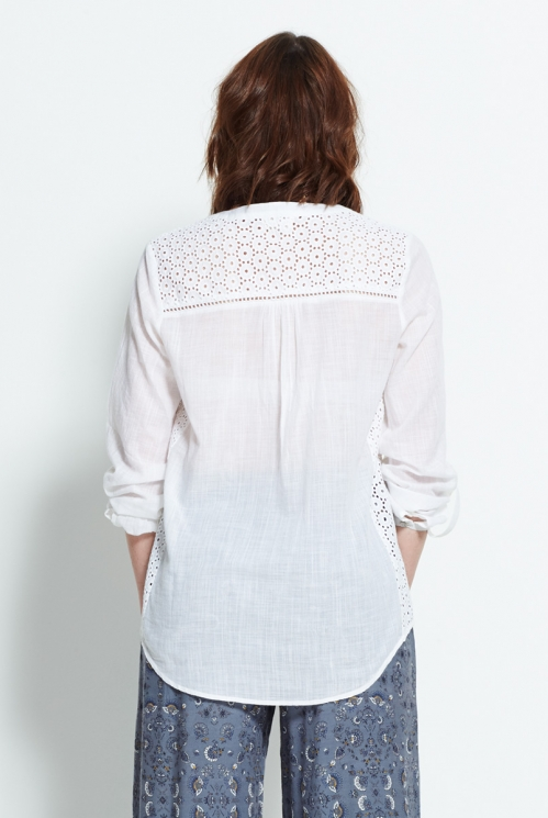 White Plain Pintuck Shirt (back)