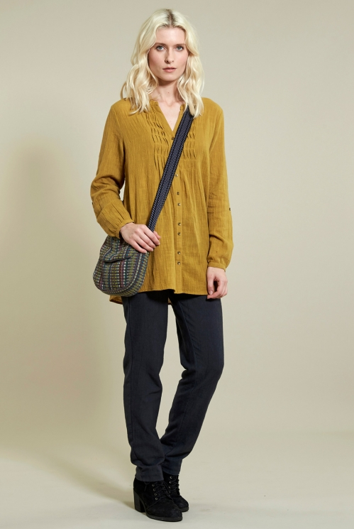 Check Mini Satchel in Ochre - back view