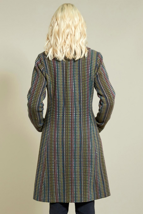 Ochre Flared Handloom Coat (back)