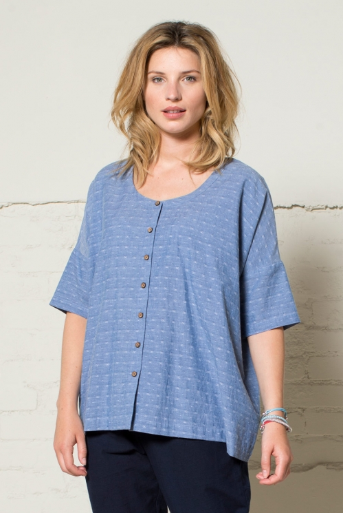 Denim Jacquard Oversize Shirt