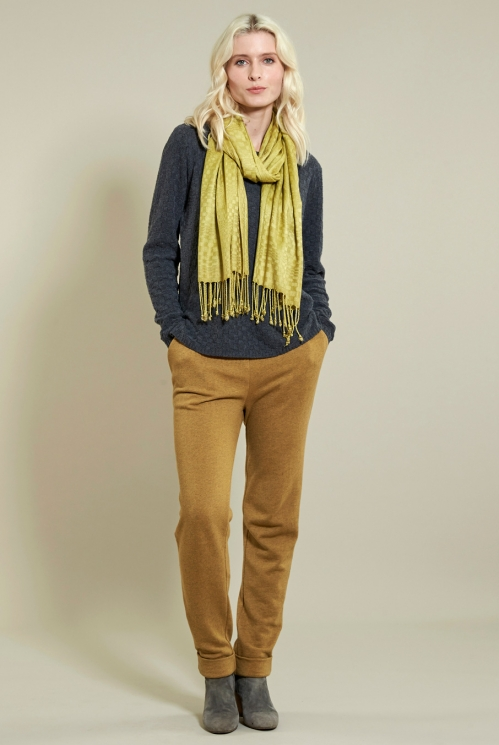 Fringe Viscose Scarf in Woven Viscose xtra view of Citrine