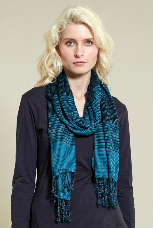Winter Turquoise Chequered Scarf