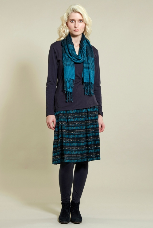 Winter Turquoise Chequered Scarf (back)