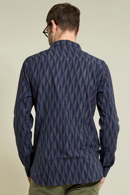 Chisle Long Sleeve Shirt in Navy - back view