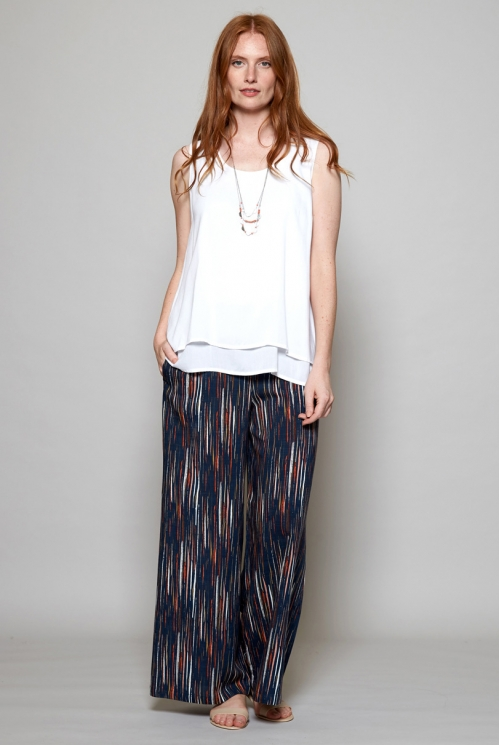 Storm Blue Fair Trade Stripe Wide Leg Trousers