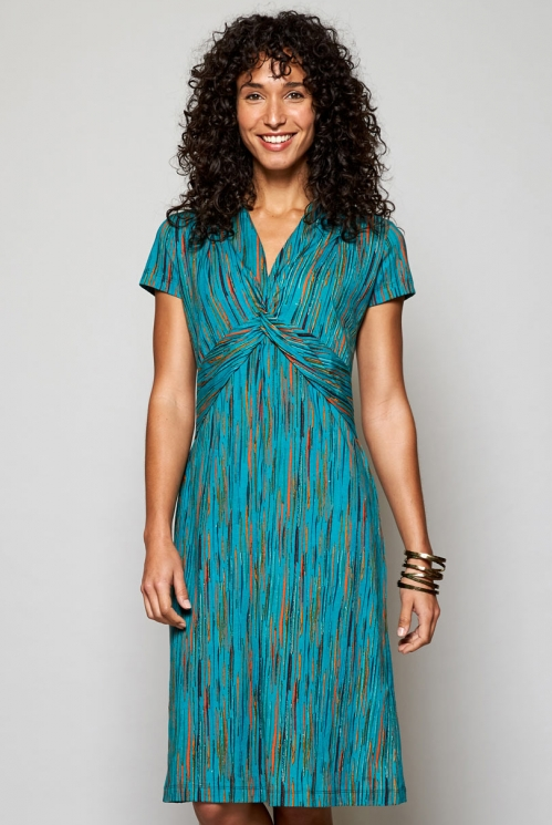 Ethically Made Sea Blue Knot Front Organic Cotton Dress