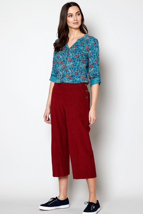 Fair Trade Fig Cropped Needlecord Trouser