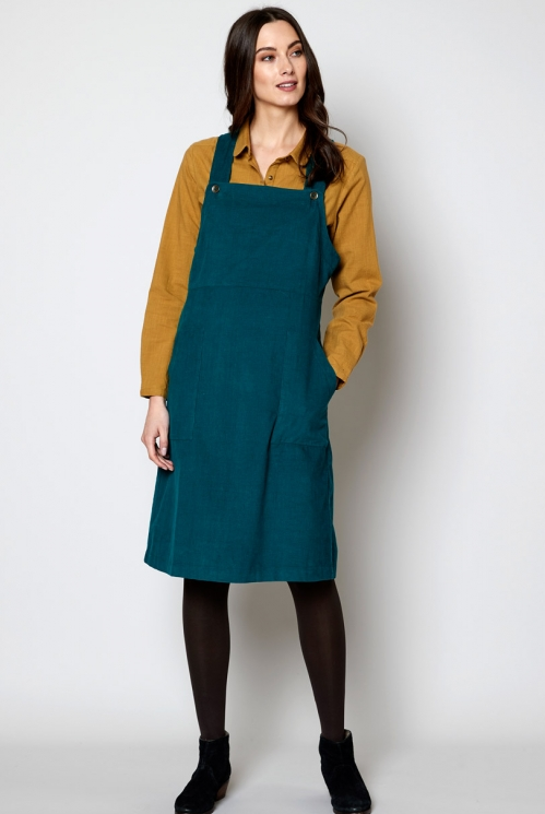 Peacock Ethically Made Needlecord Dungarees Dress