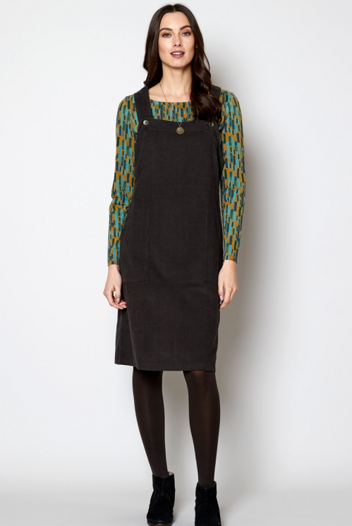 Rock Ethically Made Sustainable Needlecord Dungarees Dress