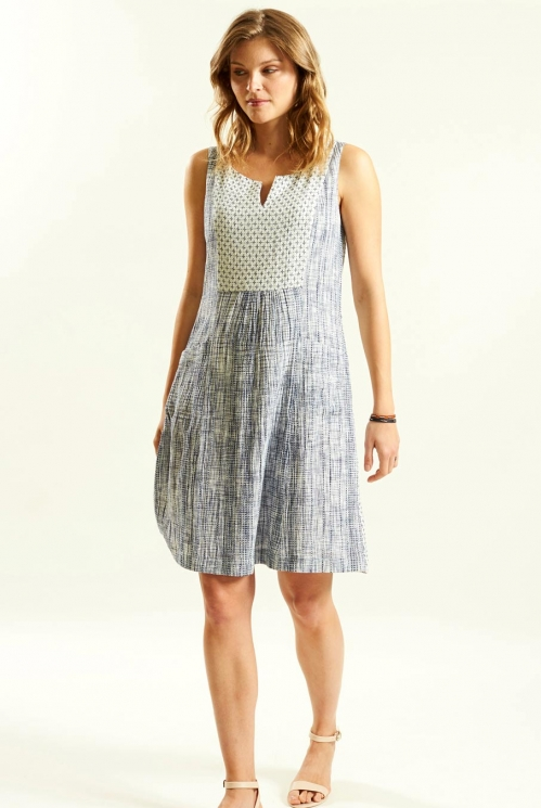 Sleeveless Tunic Dress in Patterned Woven Cotton - image shows White