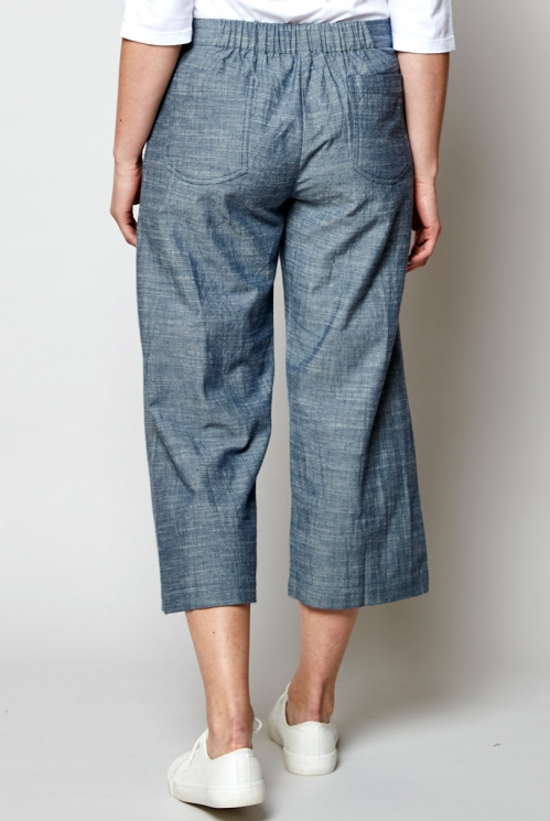 Sustainable Chambray Blue Cropped Wide Leg Chambray Trousers
