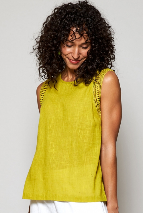 Fair Trade Citrus Green Crochet Cotton Vest
