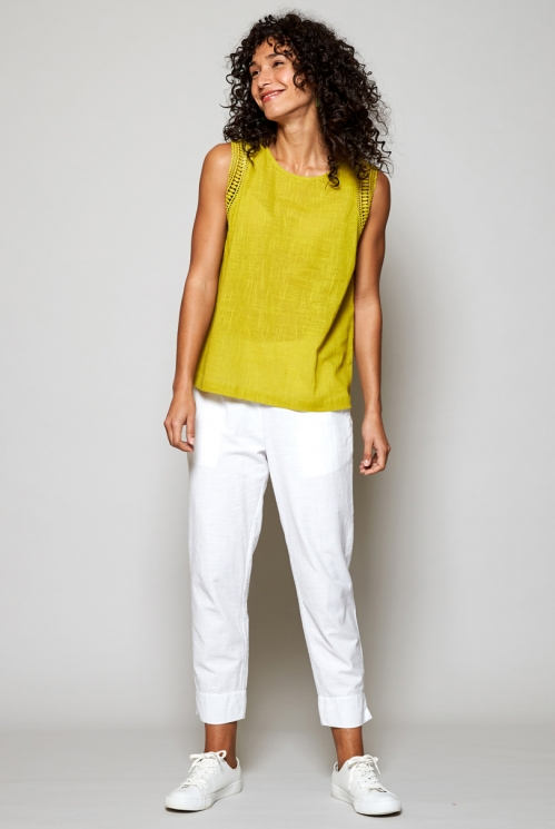 Citrus Green Fair Trade Crochet Cotton Vest