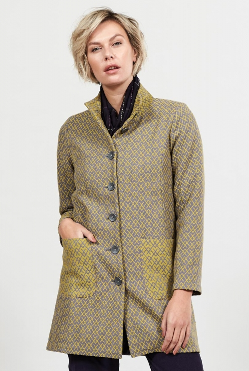 Lemongrass Sustainable Funnel Neck Handloom Coat