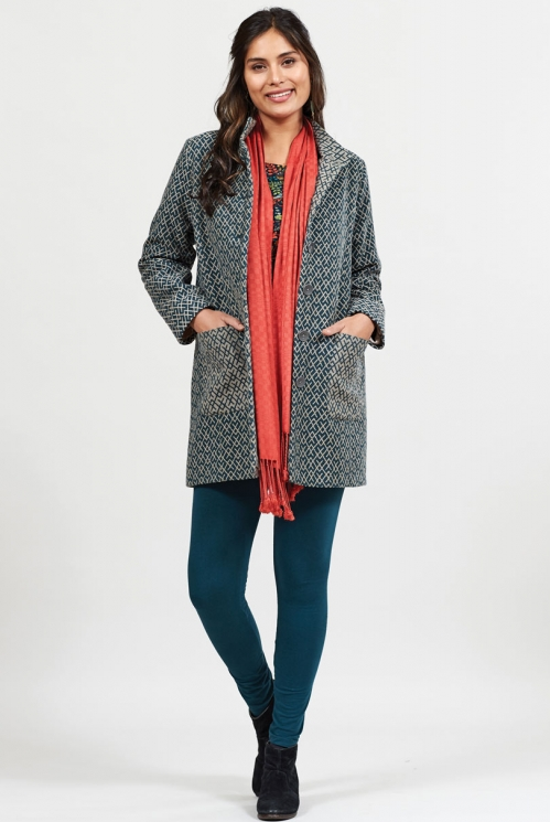 Myrtle Ethically Made Funnel Neck Handloom Coat