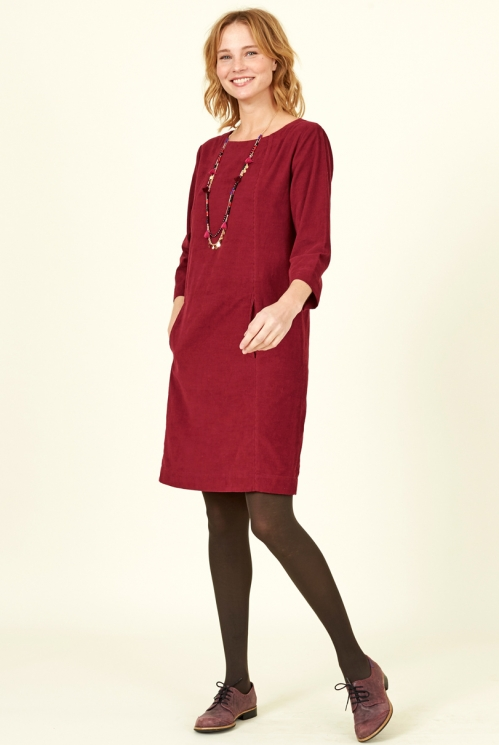 Damask Red Fair Trade Cord Tunic Dress