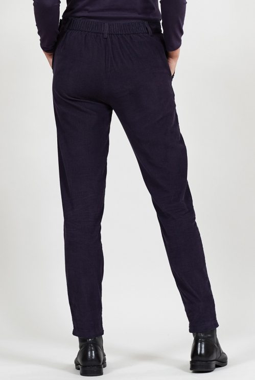Aubergine Sustainable Cord Slim Leg Trousers