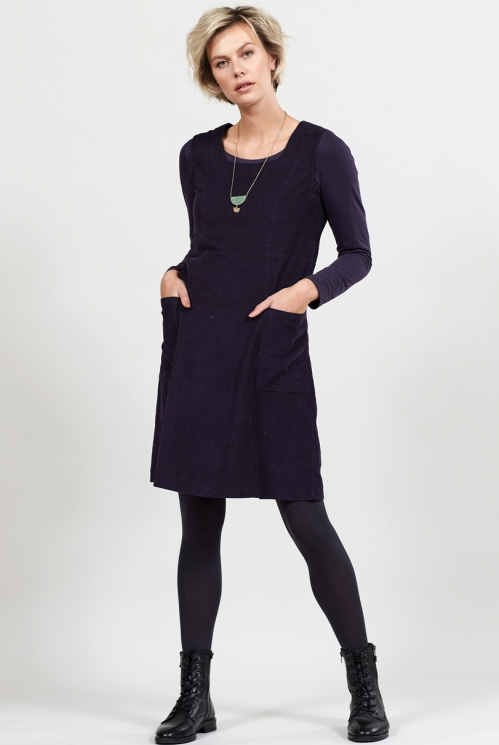 Aubergine Ethically Made A-line Cotton Cord Pinafore Dress