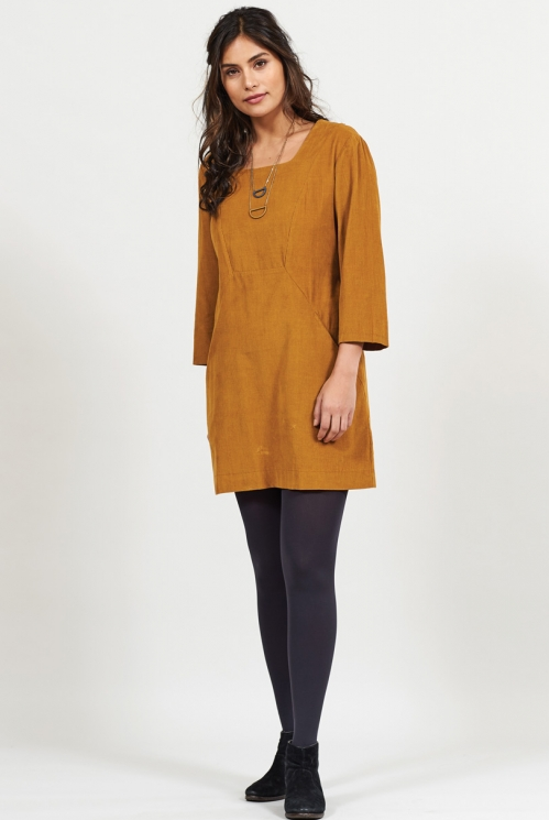 Spice Ethically Made Square Neck Cord Tunic Dress