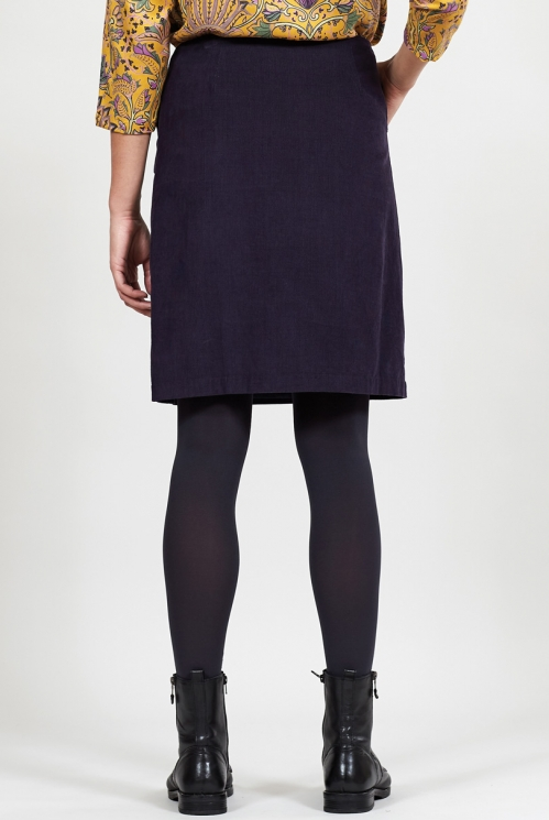 Aubergine Fair Trade Cotton Cord Button Through Skirt
