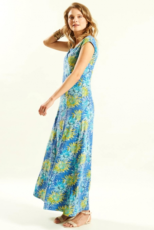 Maxi Dress in Organic Cotton Jersey xtra view of Cornflower