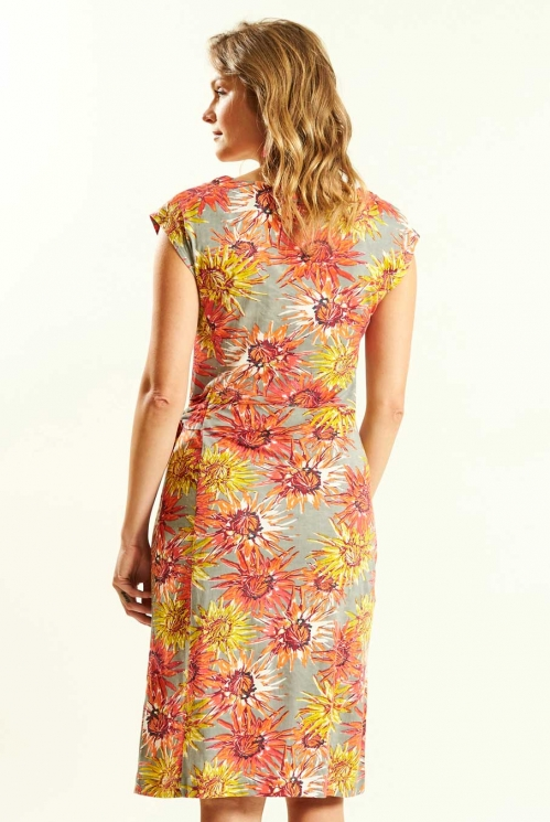 Tie Side Dress in Guava - back view
