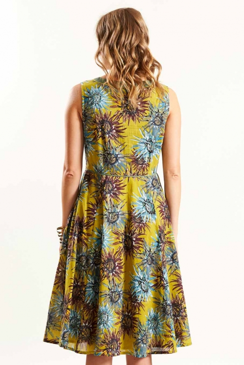 Fit and Flare Dress in Avocado - back view