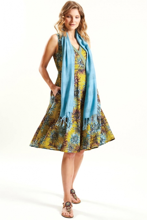 Fit and Flare Dress in Cotton Voile xtra view of Avocado