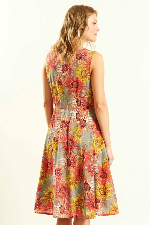 Guava Fit and Flare Dress (back)