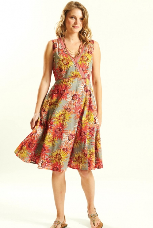 Fit and Flare Dress in Cotton Voile xtra view of Guava